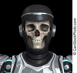 Skeleton Armour - A Skelton that is wearing futuristic...