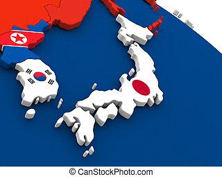 Japão, ligado, globo, com, Bandeiras,