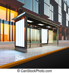 Modern bus stop. - A 3d render illustration mockup of modern...