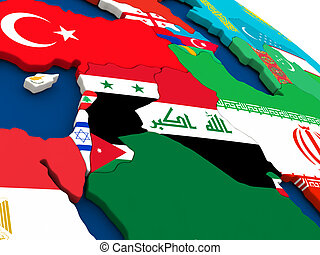 Israel, Lebanon, Jordan, Syria and Iraq region on globe with flags