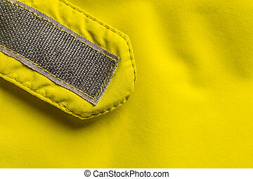 Velcro fastener on coat, copy space