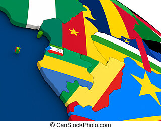 Cameroon, Gabon and Congo on globe with flags - Map of...