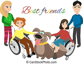 Special needs children with friends, friends and handicapped...