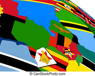 Zambia on globe with flags - Map of Zambia on globe with...