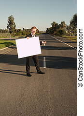 Businessman billboard invites - Happy businessman in black...