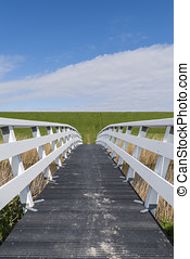 Hikers Bridge in Friesland - White, wooden hikers and...