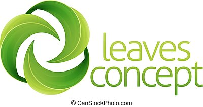 Leaves Circle Concept - Conceptual icon of circular green...
