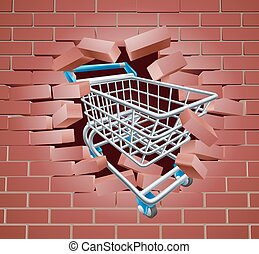 Shopping Cart Trolley Breaking Wall - Shopping cart breaking...