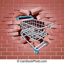 Shopping Cart Trolley Breaking Wall - Shopping cart breaking...