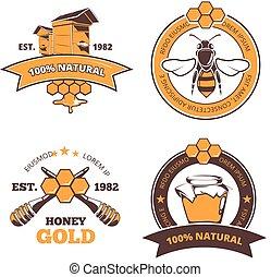 Retro beekeeper, honey vector labels, badges, emblems -...