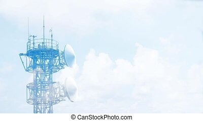 Telecommunication tower antennas with cloud time lapse