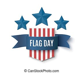 Flag Day background template. Shield with blue stars...