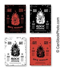 Set of four grunge, rock festival posters.