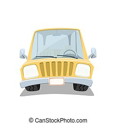 Yellow cartoon car isolated on white background.