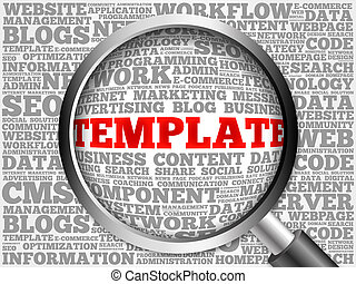 TEMPLATE word cloud with magnifying glass, business concept