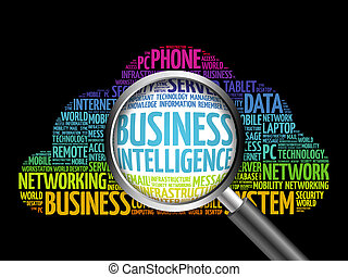 Business intelligence word cloud with magnifying glass,...