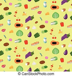 Seamless pattern of food items on yellow background in flat...