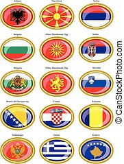 Flags of the Europe Balkan countri - Set of icons Flags of...