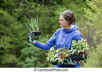 Woman gardener with seedlings prepared for planting