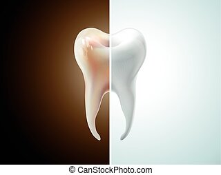 comparison of tooth care 3D illustration - pearl white and...