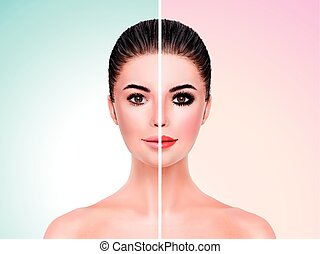 model face comparison - Beautiful model before and after...