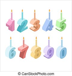 Birthday candles isometric set. 3D festive accessories. collection of figures for holiday and birthday anniversary