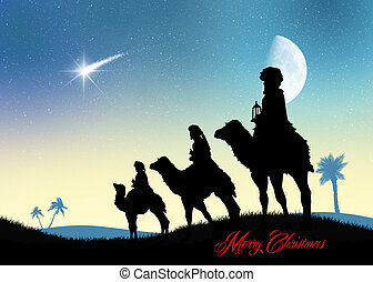 three wise men on camels in the desert - illustration of...