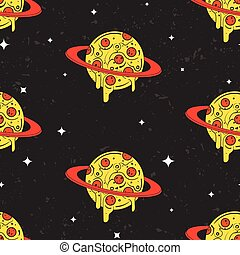 Hand drawn vector seamless pattern. Funny illustration of pizza-looking planets in space. Modern fast food stylish repeating background. Isolated vector illustration, perfect for wallpapers or textile