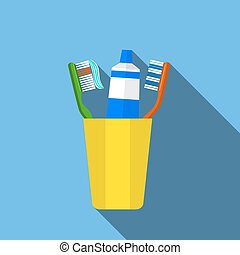 Toothbrush, toothpaste in a glass vector illustration.