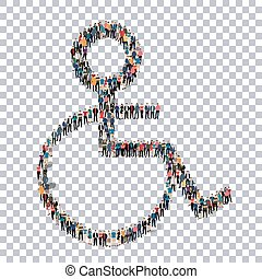 disabled isometrick people 3d - A group of people in the...