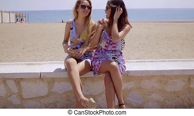 Two female friends sitting chatting at the beach