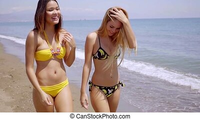 Two gorgeous young women wearing bikinis strolling along the...