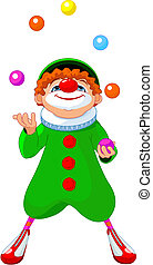 Jjuggling Clown - Cute funny clown juggling with colored...