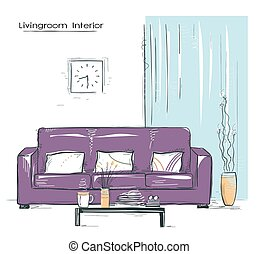 Livingroom interior place with couch.Hand drawn color sketch on white