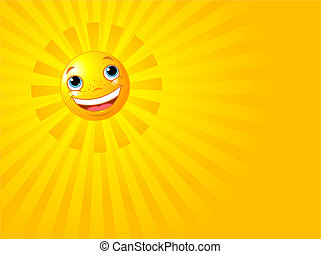 Happy Smiling Sun Summer Background - A background...