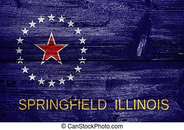 Flag of Springfield, Illinois, painted on old wood plank...