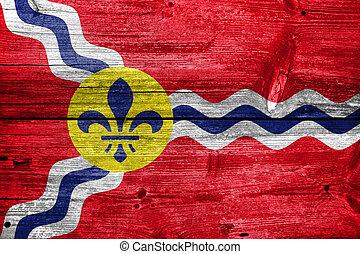 Flag of St Louis, Missouri, painted on old wood plank...
