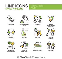 Family problems- line design icons set - Set of modern...