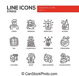 Stress at work - line design icons set