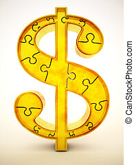 Gold dollar symbol made of puzzle parts. 3D illustration