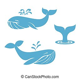 Whales icons flat design elements vector illustration -...