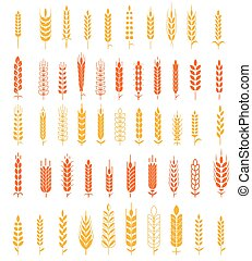 Wheat Ears Icons and Logo Set Natural Product Company and...