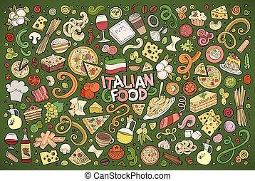 set, colorito, cibo, scarabocchiare, OB, mano, vettore,...