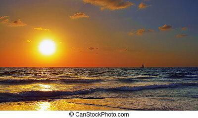 Golden magnificent seascape - Golden landscape The clouds,...