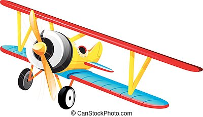 bright retro biplane - brightly colored retro classic...