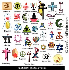 Collection of Religious Symbols Vector Illustration Designs