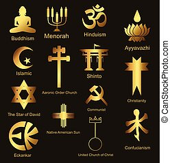 Ornamental Religious Symbols Set Vector Illustration