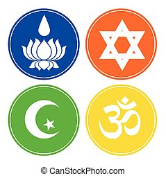 Set of Four Religious Symbols Vector Illustration