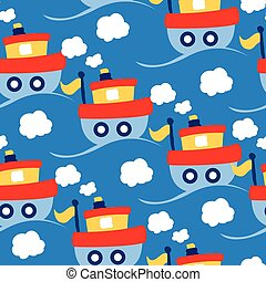 Little tug boat transport seamless pattern