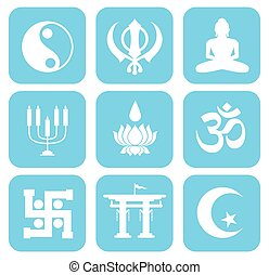 Shape Icons Set of Religious Symbols Vector Illustration